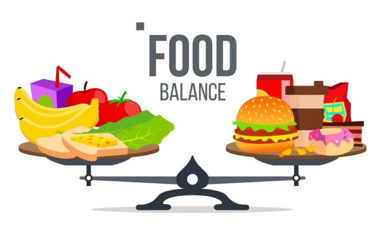 Balance Of Healthy And Unhealthy Food Vector. Isolated Cartoon Illustration